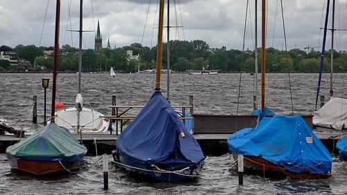 Außenalster bei Sturm in Hamburg Sankt Georg