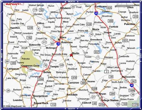 Map showing location of Marlin, Texas