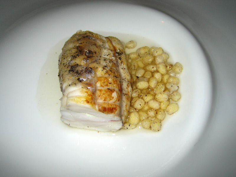 Mugaritz - Baked Filet of Monkfish w/ Mungo Beans & Tuna Consumme