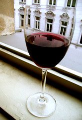 Red wine in the window
