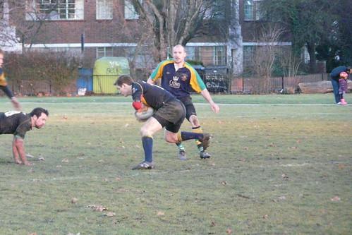 Winger James Davis tries to step the Kilburn defence