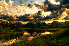 The Northern Tetons at Sunset from Oxbow Bend Turnout at Grand Teton National Park photo by D200-PAUL