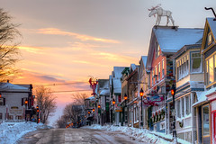Maine street Bar harbor Maine winter photo by Nate Parker Photography