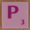 Scrabble pink tile letter P