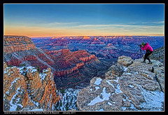Winter Sunrise at Grand Canyon, Self Portrait photo by Elena Omelchenko