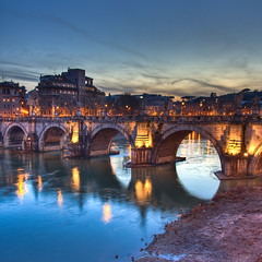 Ponte degli Angeli by night, Rome - Italy photo by luigig75