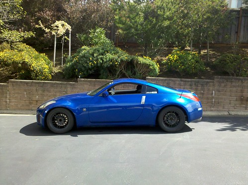 Lowered the car a bit today 350z