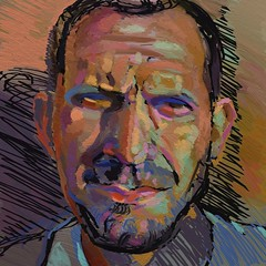 Digital Portrait Study of Ipad Junkie (Rick Shulman) - xviii.iv.xi - for jkpp photo by Clyde Semler
