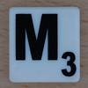 Scrabble Black Letter on White M
