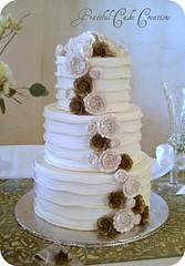 Elegant Ivory Wedding Cake photo by Graceful Cake Creations
