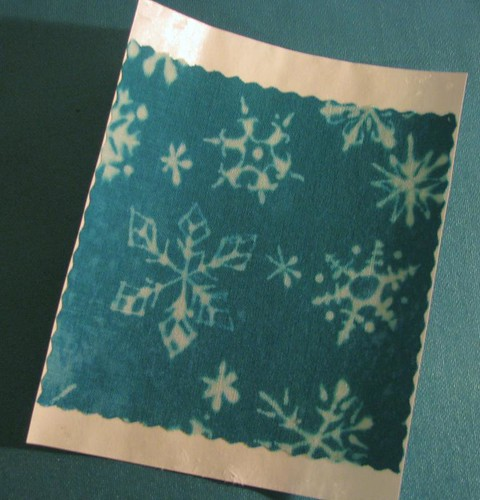 charm square with freezer paper backing