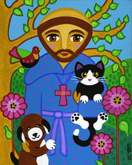 Lg St. Francis with cat & dog photo by That's My Cat