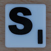 scrabble black letter on white s