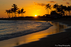 Sunset on Waikiki Beach,  Honolulu, Hawaii photo by T. Le Thang