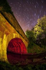 canal bridge star trail photo by cover of darkness