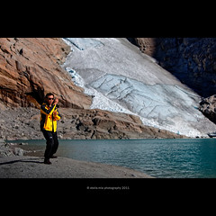 Tai chi chuan with Briksdal glacier in background photo by stella-mia