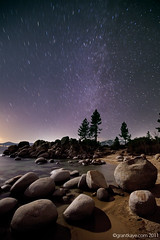 Moonlit rocks and the Winter Milky Way, Sand Harbor, Lake Tahoe photo by Grant Kaye
