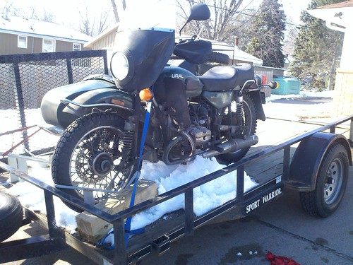 #ural trailering to scrambler cycle to wait for a new final drive