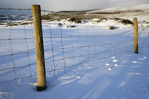 Fence in the snow - Long shadows in the snow.