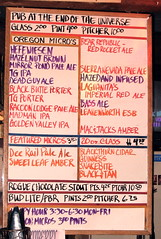 the beer menu at Pub at the End of the Universe