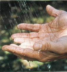 water on hands