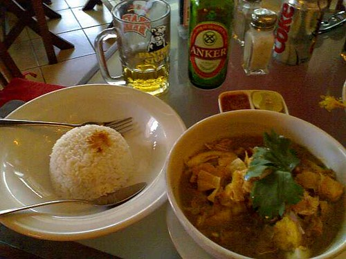Soto Ayam and Anker Beer