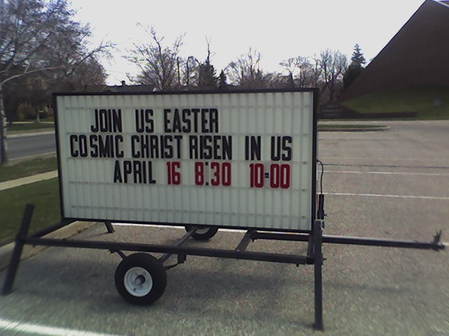 ''cosmic christ'' sign at christ community ''church'' in spring lake...
