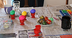 Dyed eggs waiting to be painted.