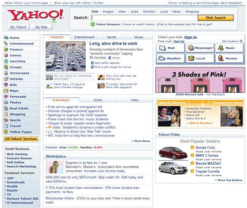 Yahoo New Homepage