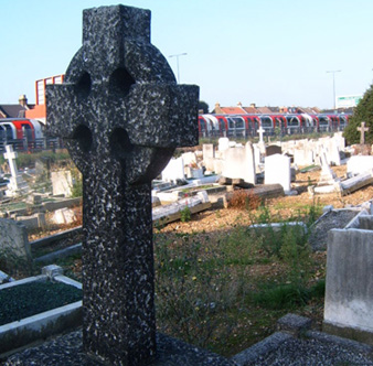 Tube and Celtic Cross in St Patrick's Roman Catholic Cemetery