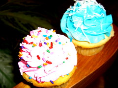 When the pink cupcake meets the blue cupcake!