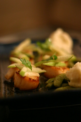 Scallops with Green Apple and Sugar Snap Peas