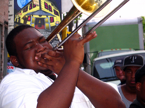 Trombone player outside the  Fair Grounds