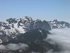 Mt Index And Mt Persis From Gully On Baring Mtn