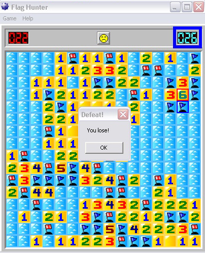 minesweeper flags defeat