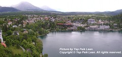 A bird's eye view of Bled, taken from Bled Castle.
