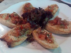 Tullio - toasted wholemeal baguette Bruschetta with tomato and garlic