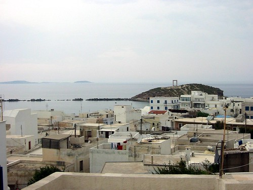 Town and portara from hotel