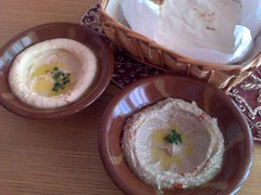From left: Hummous and Baba Ganoush