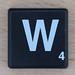 Scrabble White Letter on Black W