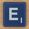 Scrabble White Letter on Blue E