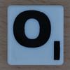 Scrabble Black Letter on White O