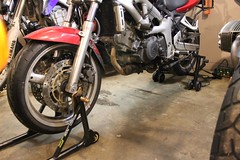 SV650 on front and rear stand for the winter