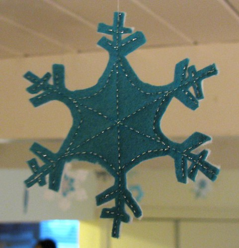 felt snowflake ornament, front
