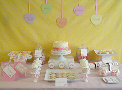 Converstation Hearts Candy Buffet Table photo by Green Apple Paperie