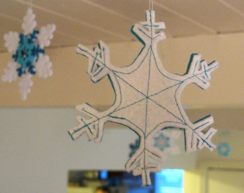 felt snowflake ornament, back