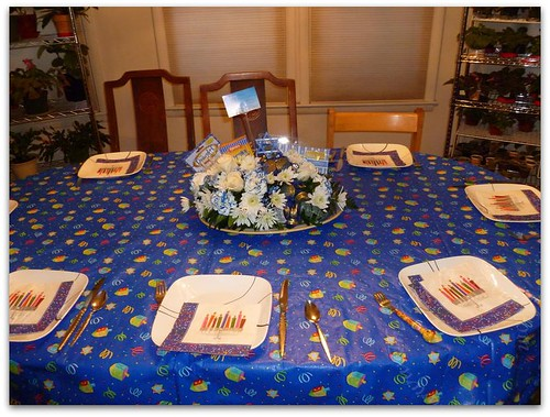 Table set for Chanukah dinner
