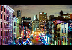 Urban Rainbow: East Broadway at Night photo by RBudhu