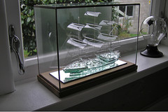 Glass Ship in glass case....(3 pics). photo by John's copper craft.