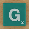 Scrabble White Letter on Green G